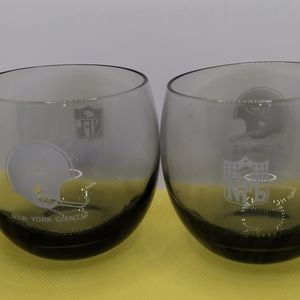 Two NY Giants NFL glasses